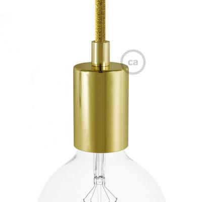 Złota metalowa oprawka żarówki gwint E27 z dekoracyjną blokadą przewodu - mosiądz Creative-Cables
