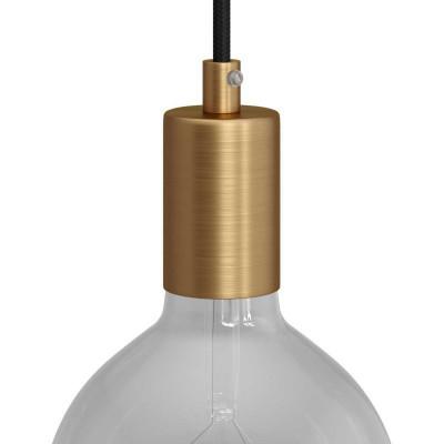 Metalowa oprawka żarówki gwint E27 z dekoracyjną blokadą przewodu - szczotkowany brąz Creative-Cables