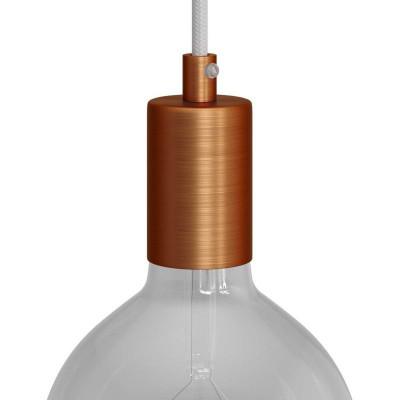 Metalowa oprawka żarówki gwint E27 z dekoracyjną blokadą przewodu - szczotkowana miedź Creative-Cables