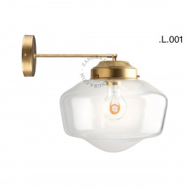 Brass wall lamp with glass shade light.128.003  sconce Zangra