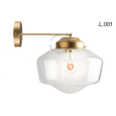 Mosiężna lampa ścienna ze szklanym kloszem light.128.003 kinkiet  Zangra