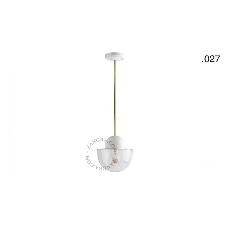 Hanging / ceiling lamp white porcelain light.036.024.w.go.glass027, E27 Zangra