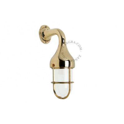 Brass wall lamp, light satin glass.160.go.002 E27 Zangra