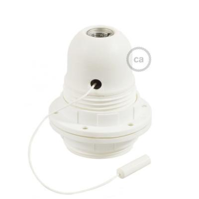 Biała termoplastyczna oprawka E27 z podwójnym pierścieniem do montażu klosza i włącznikiem sznurkowym Creative-Cables