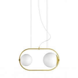 Double ceiling pendant lamp KOBAN A with golden oval brass frame and white glass shades UMMO