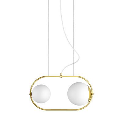 Podwójna sufitowa lampa wisząca KOBAN A złota owalna rama z mosiądzu i białe szklane klosze UMMO