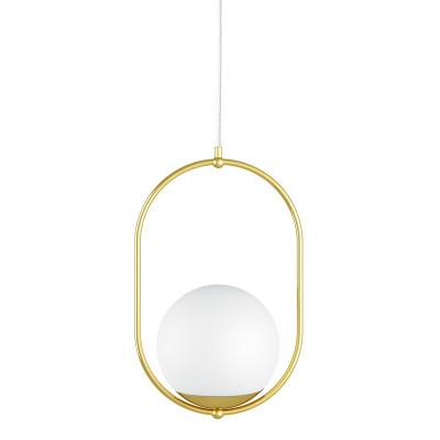 Sufitowa lampa wisząca KOBAN B złota owalna rama z mosiądzu i biały szklany klosz UMMO