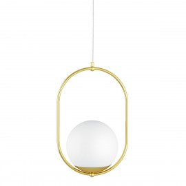 The ceiling pendant lamp KOBAN B with a golden oval brass frame and a white glass shade UMMO