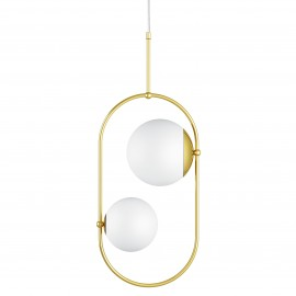 Double ceiling pendant lamp KOBAN C with golden oval brass frame and white glass shades UMMO