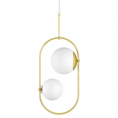 Podwójna sufitowa lampa wisząca KOBAN C złota owalna rama z mosiądzu i białe szklane klosze UMMO