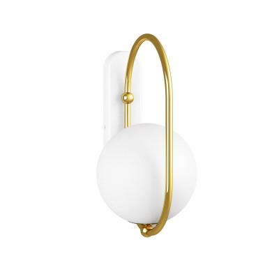 Lampa ścienna kinkiet KOBAN D złota owalna rama z mosiądzu i biały szklany klosz UMMO