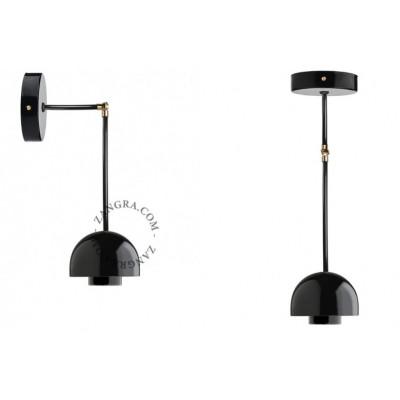Lampa wisząca / ścienna czarna porcelana 036.025.b E27 Zangra