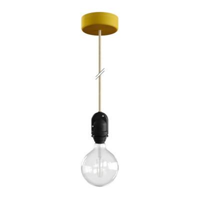 EIVA Żółta zewnętrzna lampa wisząca na abażur z silikonową rozetą sufitową i oprawką wodoodporną IP65 Creative-Cables