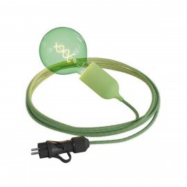 Eiva Snake Pastel, green portable outdoor lamp, 5 m textile cable, IP65 waterproof lamp holder and plug Creative-Cables