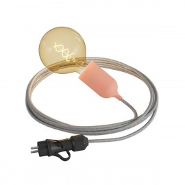Eiva Snake Pastel, pink portable outdoor lamp, 5 m textile cable, IP65 waterproof lamp holder and plug Creative-Cables