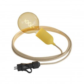 Eiva Snake Pastel, yellow portable outdoor lamp, 5 m textile cable, IP65 waterproof lamp holder and plug Creative-Cables