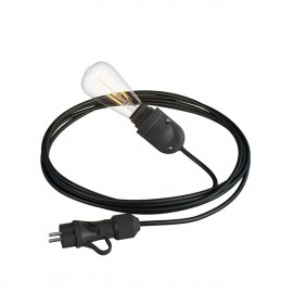 Eiva Snake black portable outdoor lamp, 5 m textile cable, IP65 waterproof lamp holder and plug Creative-Cables