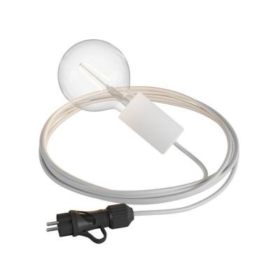 Eiva Snake Elegant biała przenośna lampa zewnętrzna przewód 5m wodoodporna oprawka i wtyczka IP65 Creative-Cables