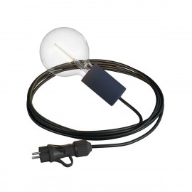 Eiva Snake Elegant, black portable outdoor lamp, 5 m textile cable, IP65 waterproof lamp holder and plug Creative-Cables