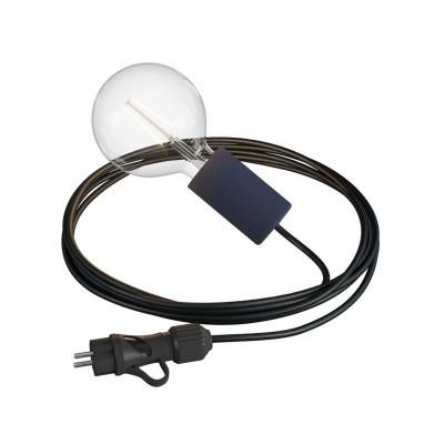 Eiva Snake Elegant czarna przenośna lampa zewnętrzna przewód 5m wodoodporna oprawka i wtyczka IP65 Creative-Cables