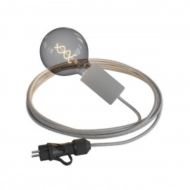 Eiva Snake Elegant, grey portable outdoor lamp, 5 m textile cable, IP65 waterproof lamp holder and plug Creative-Cables