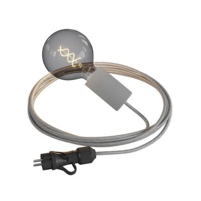 Eiva Snake Elegant szara przenośna lampa zewnętrzna przewód 5m wodoodporna oprawka i wtyczka IP65 Creative-Cables