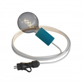Eiva Snake Elegant, petrol blue portable outdoor lamp, 5 m textile cable, IP65 waterproof lamp holder and plug Creative-Cables