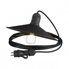 Eiva Snake with Swing shade black portable outdoor lamp, 5 m textile cable, IP65 waterproof lamp holder and plug Creative-Cables