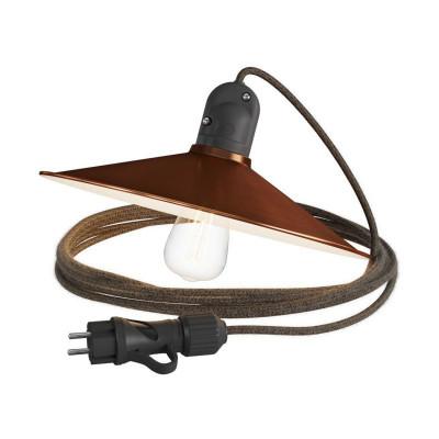 Eiva Snake z kloszem Swing miedź przenośna lampa zewnętrzna 5m wodoodporna oprawka i wtyczka IP65 Creative-Cables