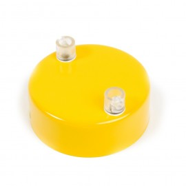 Metal ceiling cup lacquered in yellow - two cables
