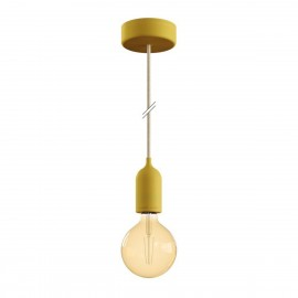 EIVA PASTEL Yellow outdoor pendant lamp with silicone ceiling rosette and IP65 waterproof holder Creative-Cables