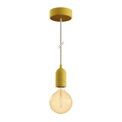 EIVA PASTEL Żółta zewnętrzna lampa wisząca z silikonową rozetą sufitową i oprawką wodoodporną IP65 Creative-Cables