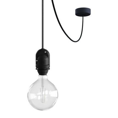 EIVA Outdoor Czarna zewnętrzna lampa wisząca na abażur z silikonową rozetą sufitową i oprawką wodoodporną IP65 Creative-Cables