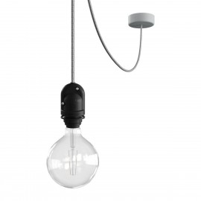EIVA Outdoor Szara zewnętrzna lampa wisząca na abażur z silikonową rozetą sufitową i oprawką wodoodporną IP65 Creative-Cables