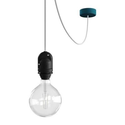 EIVA Outdoor Petrol zewnętrzna lampa wisząca na abażur z silikonową rozetą sufitową i oprawką wodoodporną IP65 Creative-Cables