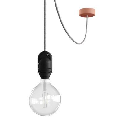 EIVA Outdoor Różowa zewnętrzna lampa wisząca na abażur z silikonową rozetą sufitową i oprawką wodoodporną IP65 Creative-Cables