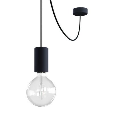 EIVA ELEGANT Outdoor Czarna zewnętrzna lampa wisząca z silikonową rozetą sufitową i oprawką wodoodporną IP65 Creative-Cables