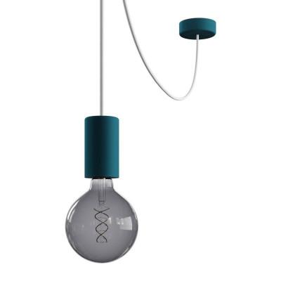 EIVA ELEGANT Outdoor Petrol zewnętrzna lampa wisząca z silikonową rozetą sufitową i oprawką wodoodporną IP65 Creative-Cables