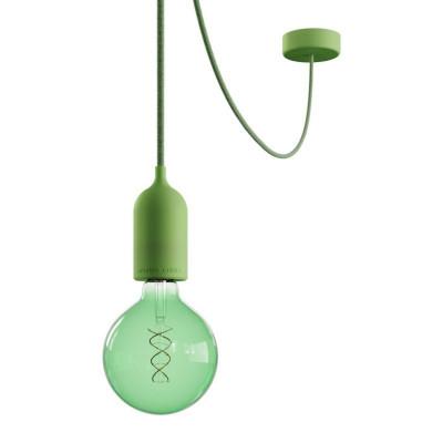 EIVA PASTEL Outdoor Zielona zewnętrzna lampa wisząca z silikonową rozetą sufitową i oprawką wodoodporną IP65 Creative-Cables