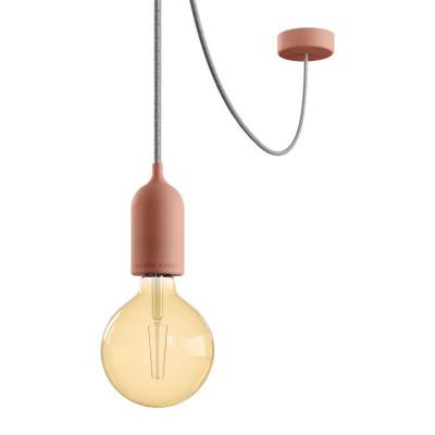 EIVA PASTEL Outdoor Różowa zewnętrzna lampa wisząca z silikonową rozetą sufitową i oprawką wodoodporną IP65 Creative-Cables