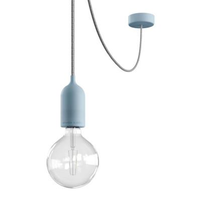 EIVA PASTEL Outdoor Błękitna zewnętrzna lampa wisząca z silikonową rozetą sufitową i oprawką wodoodporną IP65 Creative-Cables