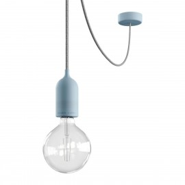 EIVA PASTEL Outdoor Light blue pendant lamp with silicone ceiling rosette and IP65 waterproof holder Creative-Cables