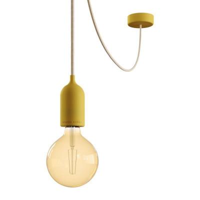 EIVA PASTEL Outdoor Żółta zewnętrzna lampa wisząca z silikonową rozetą sufitową i oprawką wodoodporną IP65 Creative-Cables