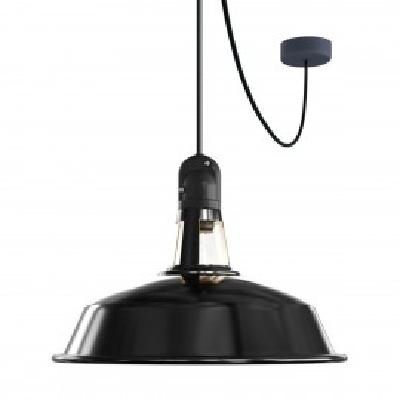 EIVA Outdoor Harbour Czarna zewnętrzna lampa wisząca z silikonową rozetą sufitową i oprawką wodoodporną IP65 Creative-Cables