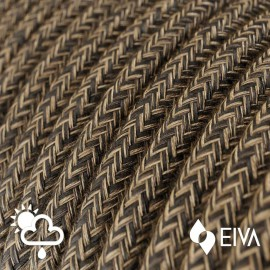 Outdoor round electric cable covered in Natural Linen SN04 Brown -suitable for IP65 EIVA system Creative-Cables
