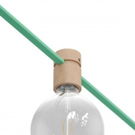 Wooden lamp holder for string light cable and Filé system. Made in Italy Creative-Cables