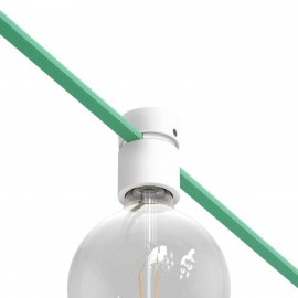 Wooden white lamp holder for string light cable and Filé system. Made in Italy Creative-Cables
