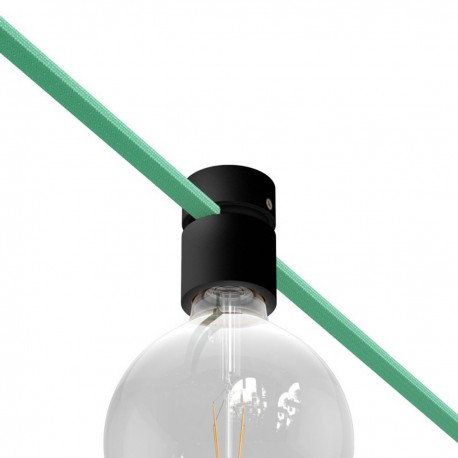 Wooden black lamp holder for string light cable and Filé system. Made in Italy Creative-Cables