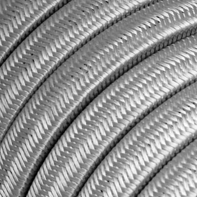 Płaski przewód w szarym oplocie Rayon fabric Silver CM02 odpowiedni do systemu Filé i Lumet Creative-Cables