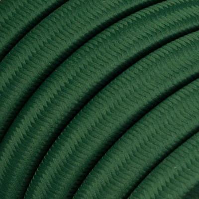 Płaski przewód w ciemno zielonym oplocie Rayon fabric Dark Green CM21 odpowiedni do systemu Filé i Lumet Creative-Cables